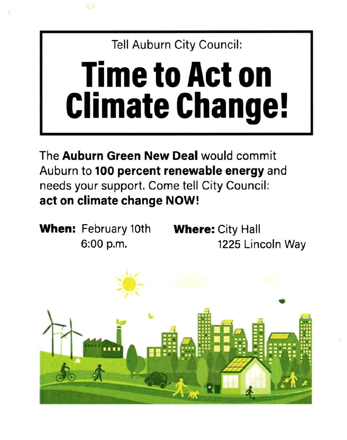 City Council Mtg re Auburn Green New Deal @ Auburn City Hall