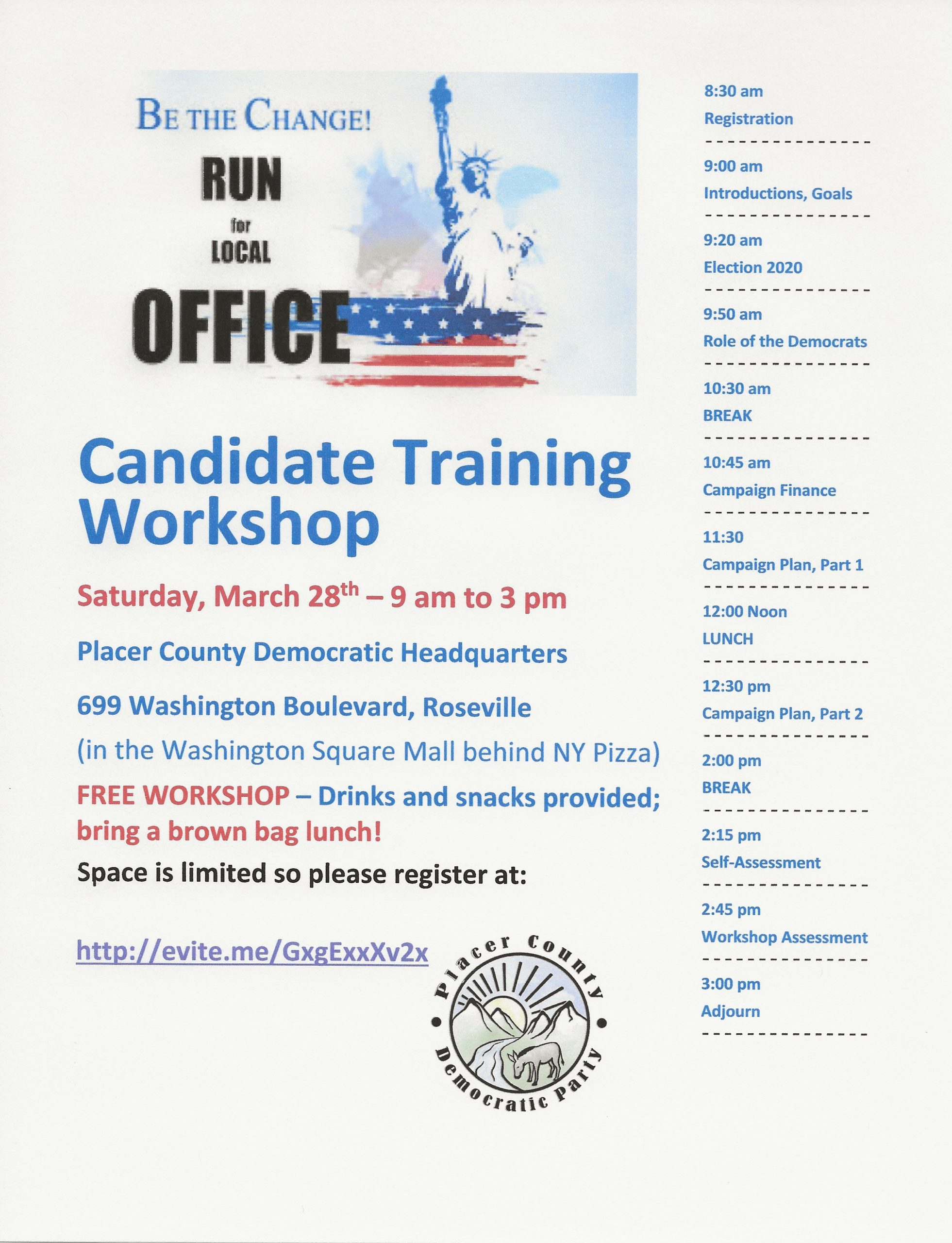 Local Candidate Workshop @ Placer County Democratic Headquarters
